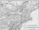 USA: Map of the Principal railways in New England, Mid West  & Canada, 1893
